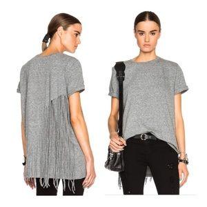 BOGO RtA Grey Zoe Fringe Designer Tee Shirt Sz L